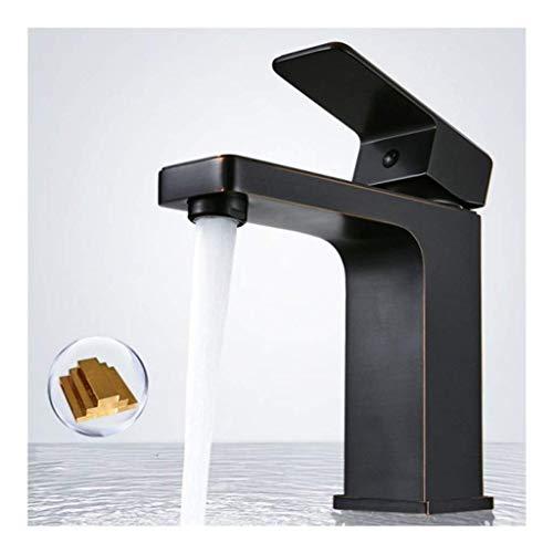HDDD Schwarz Waschbecken Wasserhahn Bad Armatur Warm-und Kaltwasserhahn Einhand Einhandmischer Waschtischarmaturen, Messing