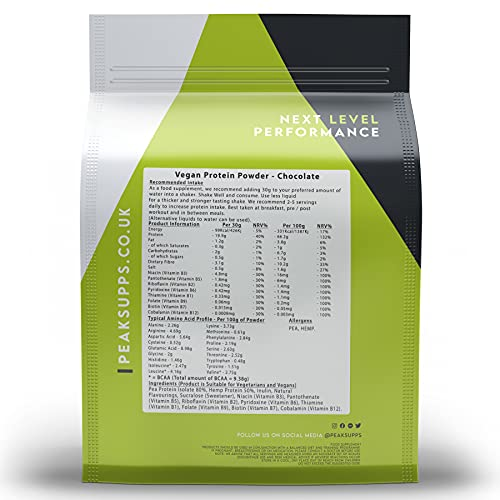 Flavoured Vegan Protein Powder - Pea Protein Isolate, Hemp Protein, Inulin (FOS) (Chocolate, 1kg)