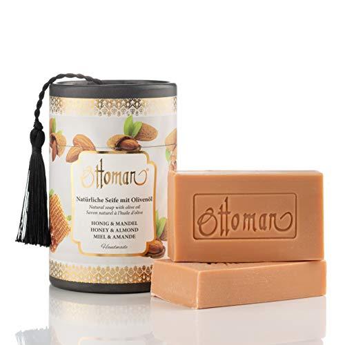 Natürliche Honig & Mandel Seife mit Olivenöl in nostalgischer Zylinderbox Handmade, Geschenkbox (2x75 gr)