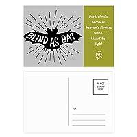 ブラックバットの動物のシルエットのナチュラル 詩のポストカードセットサンクスカード郵送側20個