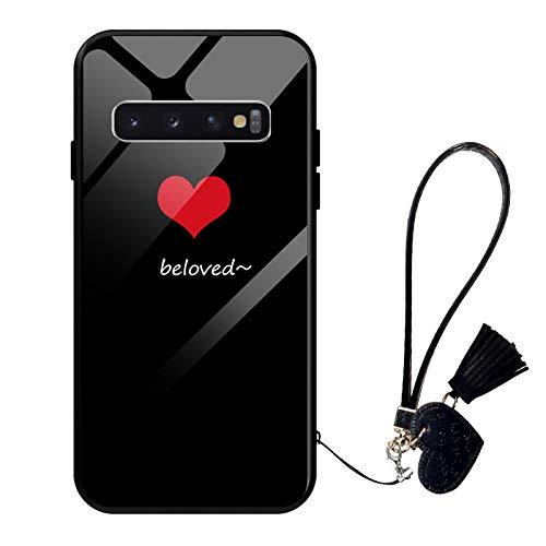 Oihxse Moda Case Compatible para Samsung Galaxy S20 Plus Funda Vidrio Templado con Cuerda Cordón TPU Silicona Suave Bumper Cover Anti-Choques Anti-Rasguños Cáscara de Cristal Estuche,A9