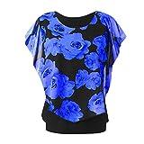 Xmiral Camicia Donna Maglietta Girocollo a Manica Lunga con Stampa t-Shirt Maniche Corte L Blu