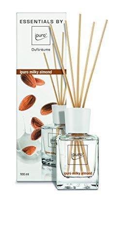 ipuro Essentials Raumduft milky almond - Raumduft für ein sanftes Raumklima - Lufterfrischer mit hochwertigen Inhaltsstoffen (100ml) - aus Glas mit Rattanstäbchen