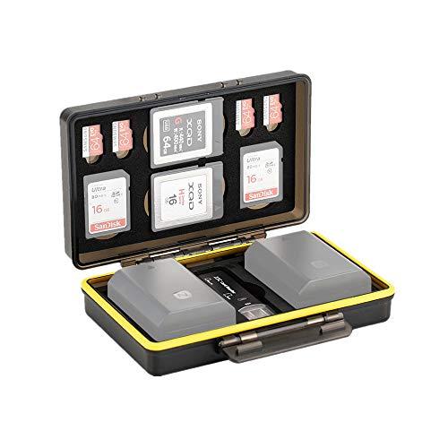 Tarjetero SD para 2 Tarjetas SD / 4 Micro SD / 2 XQD + 2 Baterías Canon LP-E6 LP-E8 LP-E12 LP-E17 NB-13L Sony NP-FZ100 NP-FW50 NP-BX1 Fujifilm NP-W126 NP-W126S Nikon EN-EL15 EN-EL14 Porta Tarjetas SD