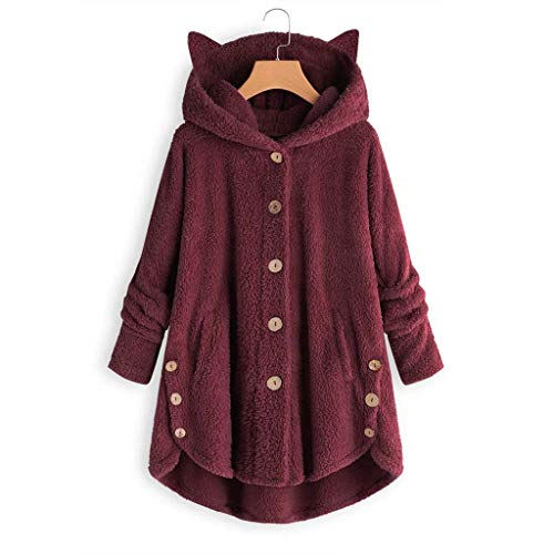 AmyGline Fleecejacke Damen Hooded Pullover mit Katzenohren Kapuzen Fleece Einfarbig Sweatshirt Mantel Kapuzenpullover Kapuzenjacke