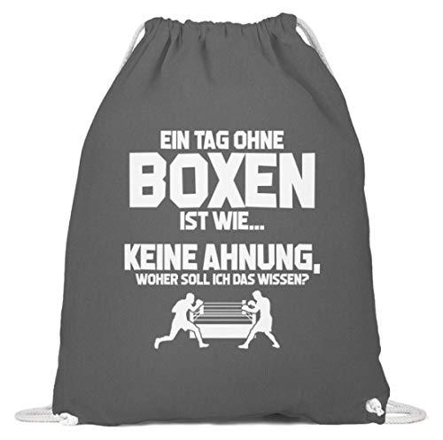 shirt-o-magic Boxsport-Fan: Tag ohne Boxen? Unmöglich! - Baumwoll Gymsac -37cm-46cm-Grafit Grau