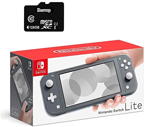 Newest Nintendo Switch Lite Game Console, 5.5' LCD Touchscreen Display, Built-in Plus Control Pad, W/Hesvap 128GB Micro SD Card, Built-in Speakers, 3.5mm Audio Jack (Gray)