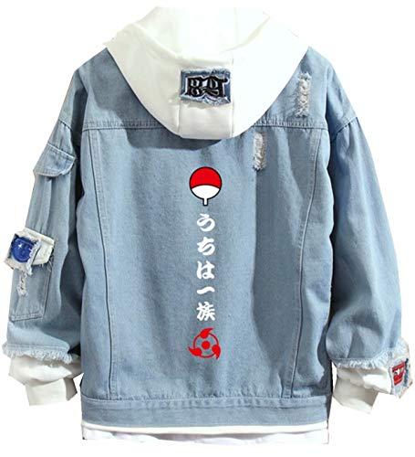 Naruto Denim Jeansjacke Street Fashion Anime Cosplay Tunnelzug Kapuzenpullover Naruto Denim Jacket Outwear Sweatshirt Mäntel für Teenager Jungen und Mädchen