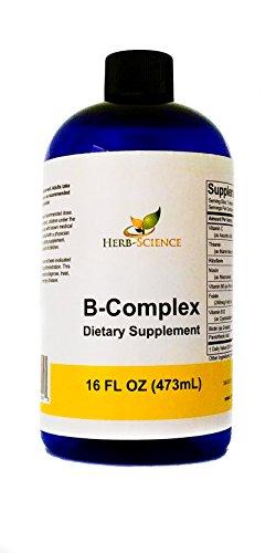 Vitamin B-Complex,Super B Complex Vitamins with Vitamin C Liquid, 16 oz - All B Vitamins Including B1, B2, B3, B5, B6, B7, B9, B12, Folic Acid, Niacin, Biotin, Alcohol-Free - Herb-Science