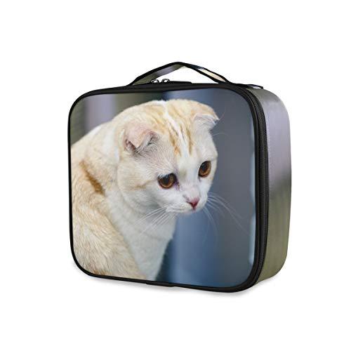 para mujer Chica Bolsa de maquillaje profesional Portátil multifunción con compartimentos ajustables Gatos Scottish Fold White Cute Cosmetic Box