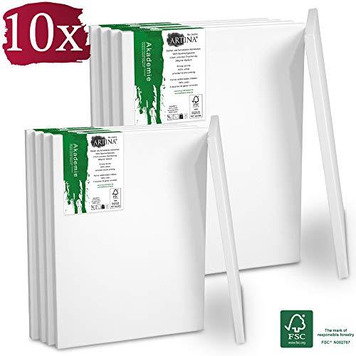 Artina Akademie Keilrahmen FSC®-Zertifiziert 10er Set 5 x 40x50 cm & 5 x 30x40 cm- Aus 100% Baumwolle Leinwand Keilrahmen weiß - 280g/m² - verzugsfrei