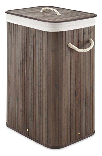 Whitmor Laundry Hamper with Rope Handles Bamboo, 12.25x16.25x23.375, Dark Stain