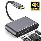 USB-C vers HDMI Adaptateur de Concentrateur,Mealink Hub USB C 3 en 1 Type-C vers 4K HDMI/USB 3.0 et Type c PD Port pour Google Chromebook Pixel, ASUS zenbook, MacBook Pro,Huawei matebook Plug and Play
