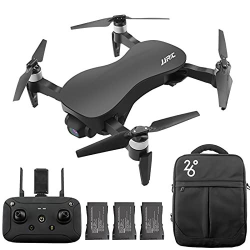 GoolRC Drone X12 Senza spazzole RC con Fotocamera a 3 Assi stabilizzata con Giunto cardanico 12MP 4K Foto quadricottero Aerei Coperta all'aperto per Adulti 3 Batteria