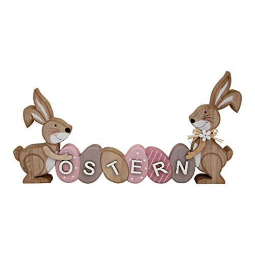generich Schriftzug Ostern mit Zwei Hasen Aufsteller Eier 29x15 cm Osterdeko Osterhasen 80399