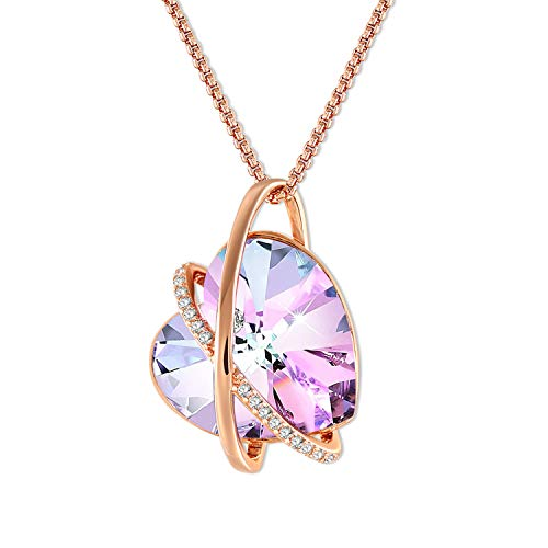 GEORGE · SMITH Love Echo Purple Crystal Necklace for Women Love Heart Necklace with Swarovski Crystals, Women Necklace Birthday Gifts for Women (2-Rose Gold)