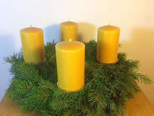 4 Stück Kerzen für den Adventskranz aus 100{f85c6c7e772a76f8cc79a5232961312b02b954f66851e9802eef25f60cfa6d8d} Bienenwachs, 10 x 6 cm, Stumpen, handgemacht, Bienenwachskerze, gegossen, direkt vom Imker aus Deutschland, Bayern, von der Bienenbude.