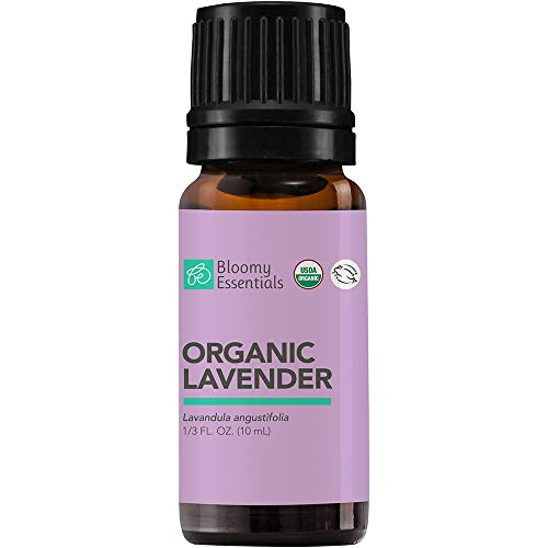 Bloomy Essentials Organic Lavender Essential Oil 10 mL 1/3 oz  USDA Certified Organic  Aromatherapy for Relaxation Peaceful Sleep Stress Meditation  100% Pure Undiluted Therapeutic Grade