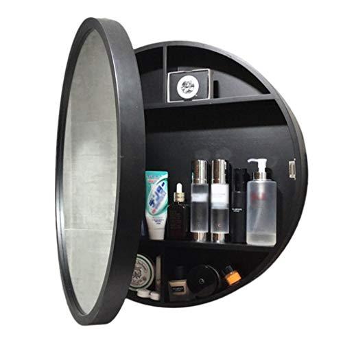 WYL Badezimmer Spiegelschrank, Massivholz Runden Badschrank mit Spiegel, Schiebetür Spiegelschrank fürs Bad, Schlafzimmer (50cm, Black-B)