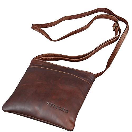 STILORD 'Lana' kleine Umhängetasche Damen 16 x 18 x 2 cm Ausgehtasche Schultertasche Handtasche echtes Büffel Leder Vintage Design Größe S, Farbe:Cognac - Dunkelbraun