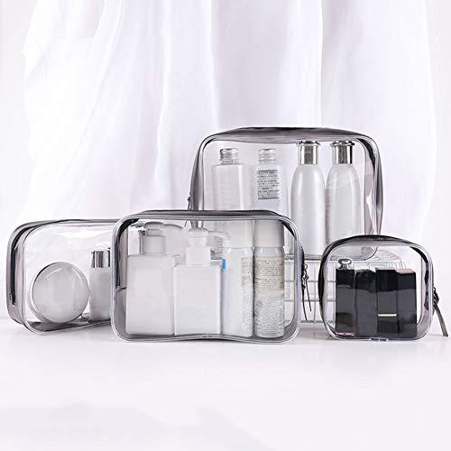 RIsxffp Sacs De Maquillage, Sac à Cosmétiques, 1 / 4Pcs / Set Portable Transparent Zip PVC Travel Cosmetics Wash Bag Storage Pouch 4 pièces