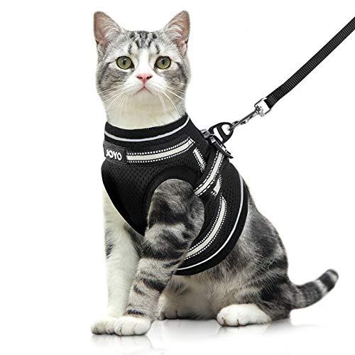 JOYO Katzengeschirr mit Leine Set Ausbruchsicher Geschirr für Katzen, weich verstellbar Welpengeschirr mit reflektierenden Streifen, Brustgeschirr Cat Harness für Kätzchen Kitten & Welpen