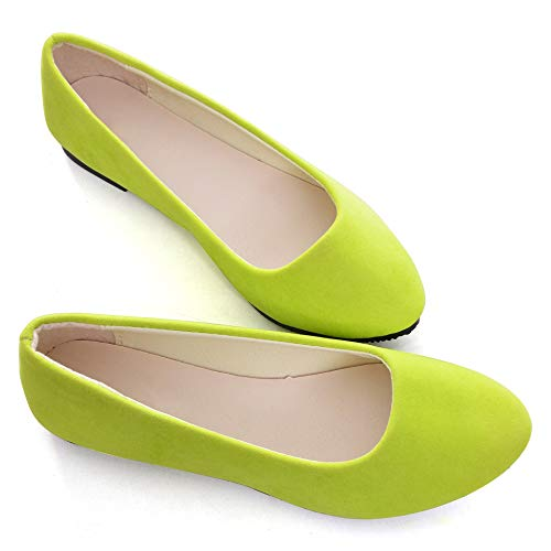Stunner Women Cute Slip-On Ballet Shoes Soft Solid Classic Pointed Toe Flats Fluorescence 42 Green