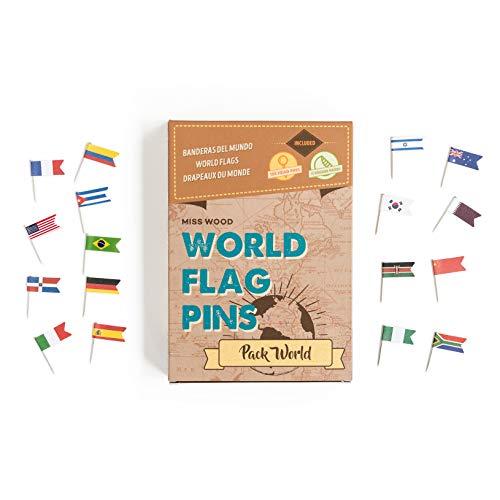 Miss Wood World Pack-Banderas del Mundo. Chinchetas de Mapa, Adhesivo, Marron, Talla unica
