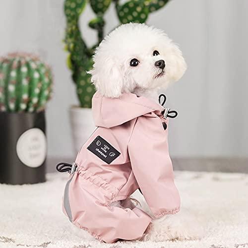 Idepet Cane Cappotto impermeabile per cani con cappuccio, giacca antipioggia leggera per animali domestici Poncho antipioggia per cani con striscia riflettente per cani di piccola taglia