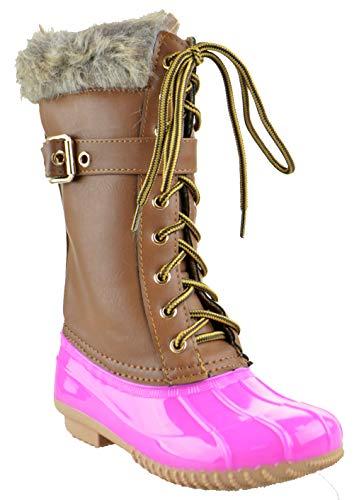 Link Duck 10K Little Girls Knee High Rain Lace Up Fur Trendy Rubber Duck Boots Fuchsia 4
