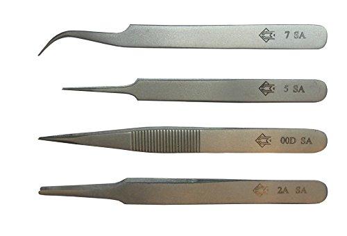 Piergiacomi KIT4-1T Set Composto da 4 Pinzette Professionali in Cartucciera di Plastica, Modelli 2A, 00D, 5, 7, Costruite con Acciaio Antiacido Non Magnetico, Argento