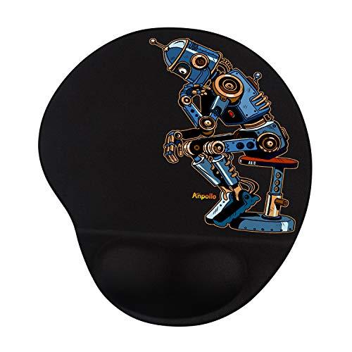 Anpollo Tappetino Mouse Ergonomico con Supporto per Il Polso, Tappetino per Mouse in Gel Confortevole, Tappetino Mouse Gaming Resistente - Polso Robot