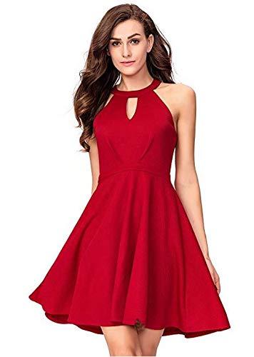 SUNNYME Vestido de cóctel para mujer, línea A, vestido de invitados de boda, sexy, sin mangas, cuello halter, mini vestidos