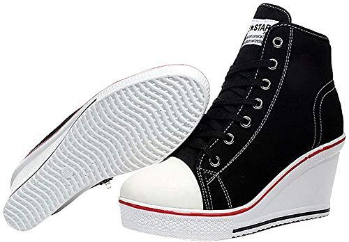 Padgene Fashion Canvas-Schuhe für Damen, mit Schnürsenkeln und seitlichem Reißverschluss, Schwarz - Schwarz  - Größe: 36 EU