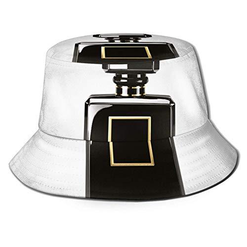 Bokueay Sombrero de Cubo con Estampado de Botella de Perfume Negro, Gorra de Pesca para Pescador, para Viajes de Mujer