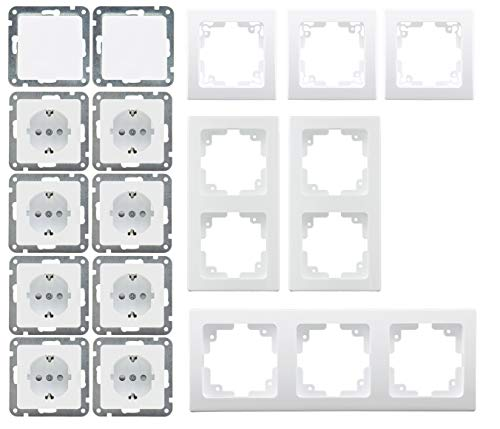 Delphi Steckdosen Schalter Kombination 16-teilig Unterputz 8X Steckdosen 2X Wechselschalter 6X Rahmen UP Komponenten Klemmanschluss Weiß