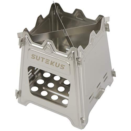 Sutekus 折りたたみ 薪ストーブ ステンレス製 携帯焚火台 (専用収納バッグ付き) 燃料不要 ウッドバーニング 軽量 コンパクト 野外 キャンプ クッキング ピクニック