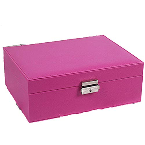 Lock - Pendientes de doble capa de piel sintética para mujer, anillo de diamante, collar, caja de almacenamiento doméstico, gran capacidad para joyero, color rosa y rojo