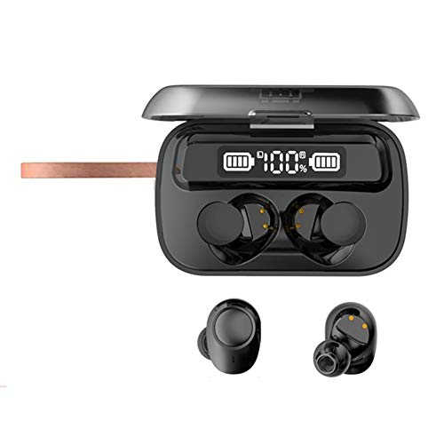 Gravere Auriculares inalámbricos verdaderos, HD LED Bluetooth 5.1 HiFi estéreo Bluetooth auricular inalámbrico micrófono Bluetooth auriculares binaurales llamadas Bluetooth con funda de carga