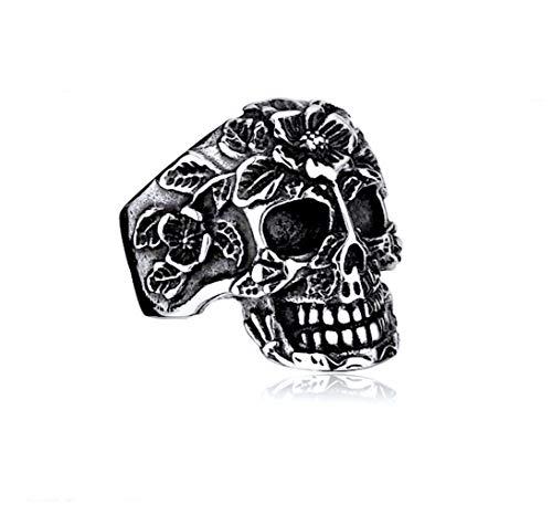 KUSTOM FACTORY - Anello da uomo, motivo: teschio messicano acciaio inox 67 FR/12 US