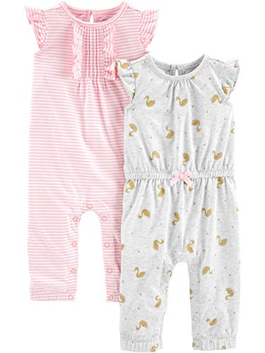 Simple Joys by Carter's Girls' 2-Pack Fashion Jumpsuits, Pink Stripe/Gold Swan, 18 Months