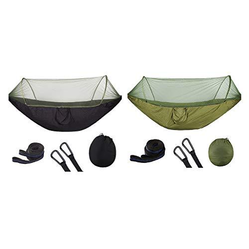 Baoblaze 2pcs Hamac de Camping Ultra-léger pour Moustiquaire avec 2pcs Sac de Rangement et 4pcs Mousquetons