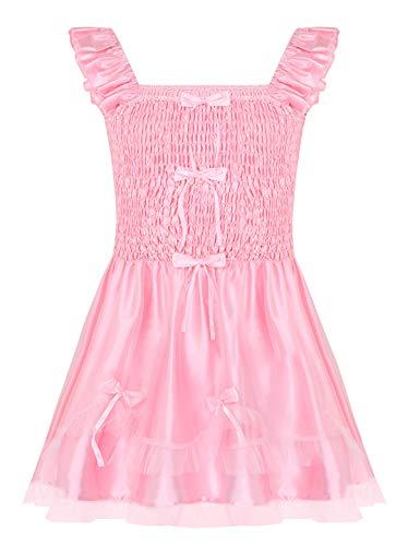 MSemis Vintage Herren Sissy Kleid Satin Dessous Nachthemd Trägerkleid mit Rüschen Nachtwäsche Crossdresser Kostüm Maid Outfits für Männer Rosa Rosa Medium
