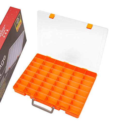 SOMELINE Sortimentsbox Sortierboxen Werkzeugkiste Tragbare Sortimentskästen mit Einstellbar fester Fachaufteilung für Kleinteile Nägel Schmuck Perlen Ohrring 48 Gitter Orange