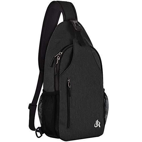 15.7 Inch Sling Backpack Sling Bag Small Backpack for Women Men Kids Travel Hiking Bag (Black)
