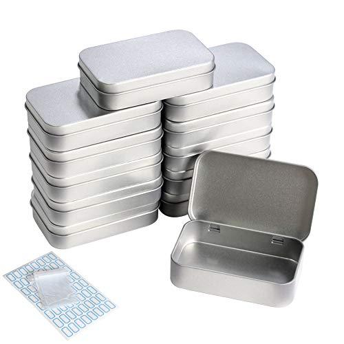 DUOFIRE 12 Pcs Tin Box Small Metal Tin Containers with Hinged Lids Home Storage Tins Box Empty Tin Kit Portable Organizer Rectangular 37x23x08in