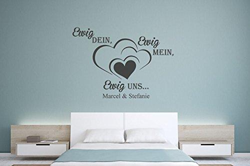 Wandtattoo-bilder® Wandtattoo Wunschname Ewig Dein, Ewig Mein, Ewig Uns mit Wunschname Nr 1 Wunschtext Liebe Größe 60x43, Farbe Schwarz