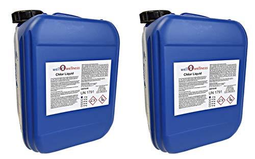 well2wellness Chlor Liquid/Chlorbleichlauge stabilisiert - 2 x 5,0 ltr. (2 x 6 kg)