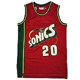 CLKJ # 20 Gary Payton SuperSonics - Camiseta de baloncesto para hombre, diseño retro bordada para jóvenes (S-2XL)