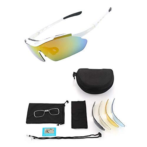 LVkele Polarizzati Occhiali Ciclismo,con 5 Lenti Intercambiabili Anti-UV400 per Uomo Donna,Occhiali Bici Occhiali Sportivi da Sole, per MTB Pesca Golf Guida (Bianco, Nero) (Bianco)